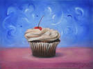"Cherry Cup Cake Fireworks <br>2011, oil on canvas, 9"" x 12"""